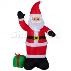 """3D фигура надувная """"Дед Мороз с подарком"""", размер 120 см, внутренняя подсветка 3 лампы, компрессор с адаптером 12В, IP 44 NEON-NIGHT"""
